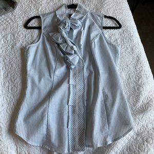 Blue striped New York & Company button down top